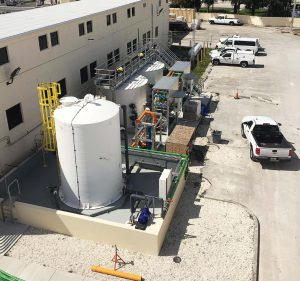 Basing the design off the nearby Palm Beach County Water Treatment Plant, Boynton Beach enhanced and optimized the contactor design. This resin regeneration area shows the recycled brine tank and resin regeneration skids. (Photo provided)