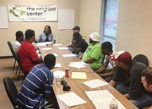 Participants take part in an anger management session at The Neighbor Center in Mobile, Ala. The center also has the Project H.O.P.E. Reentry Initiative, which helps formerly incarcerated individuals transition back to life on the outside. (Photo provided)