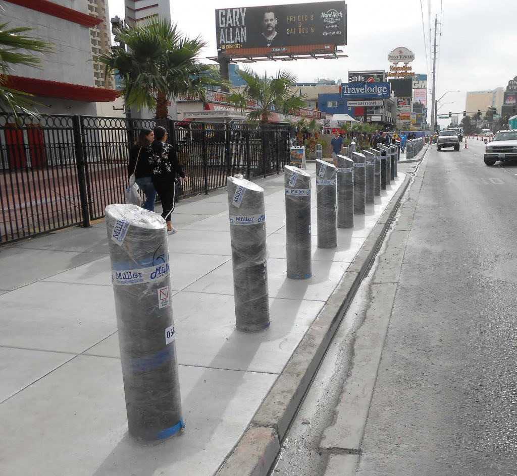 Following a driver driving onto the sidewalk on the Las Vegas Strip, Clark County, Nev., installed physical barriers to prevent any vehicles from accessing sidewalks on the strip. (Photo provided)