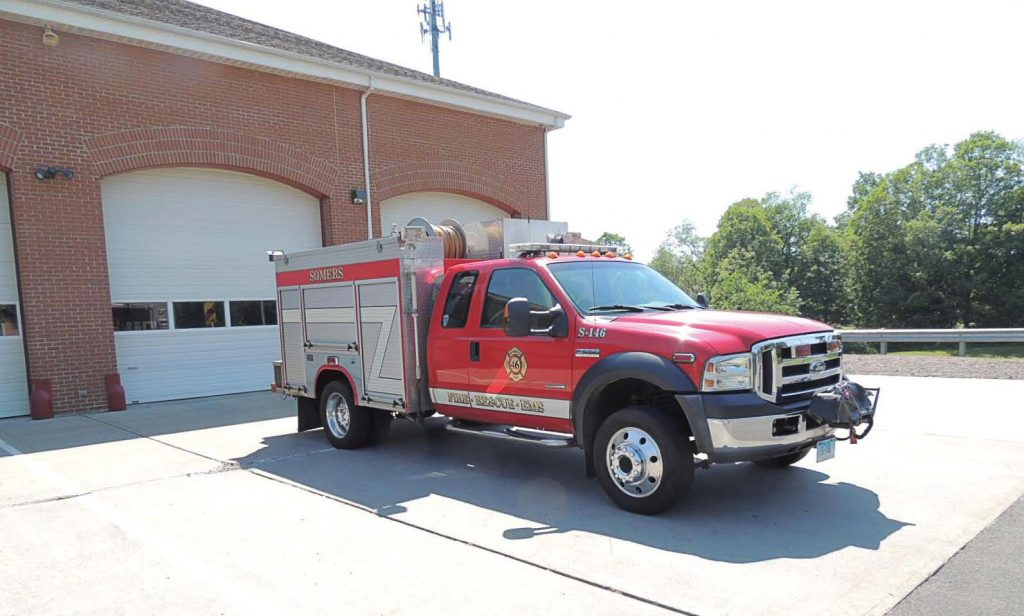 Rapid response vehicles are not only offering better maneuverability, but also savings in costs when it comes to fuel and insurance. Pictured is 2006 F-550 4x4 that had been sold for Somers, Conn.; it is now serving in Warwick, Mass. (Photo provided by Fire Tec)