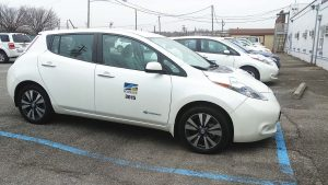 Roanoke, Va., has invested in low-mileage, used Nissan Leafs as part of its eff orts to replace gas-guzzling SUVs and sedans. The switch to electric is expected to save the city $150,000 in vehicle replacement and fuel costs while also reducing energy and maintenance spending by 80 percent. (Photo provided)