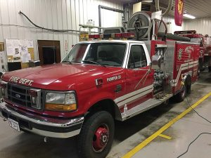 This 1995 F-450 4x4 was owned by Pine Village Volunteer Fire Department of Indiana before being sold to Ryland Heights Fire Department in Kentucky. Many rural volunteer fire departments are finding rapid response vehicles to be handy, especially if they are contending with more difficult terrain. (Photo provided by Fire Tec)