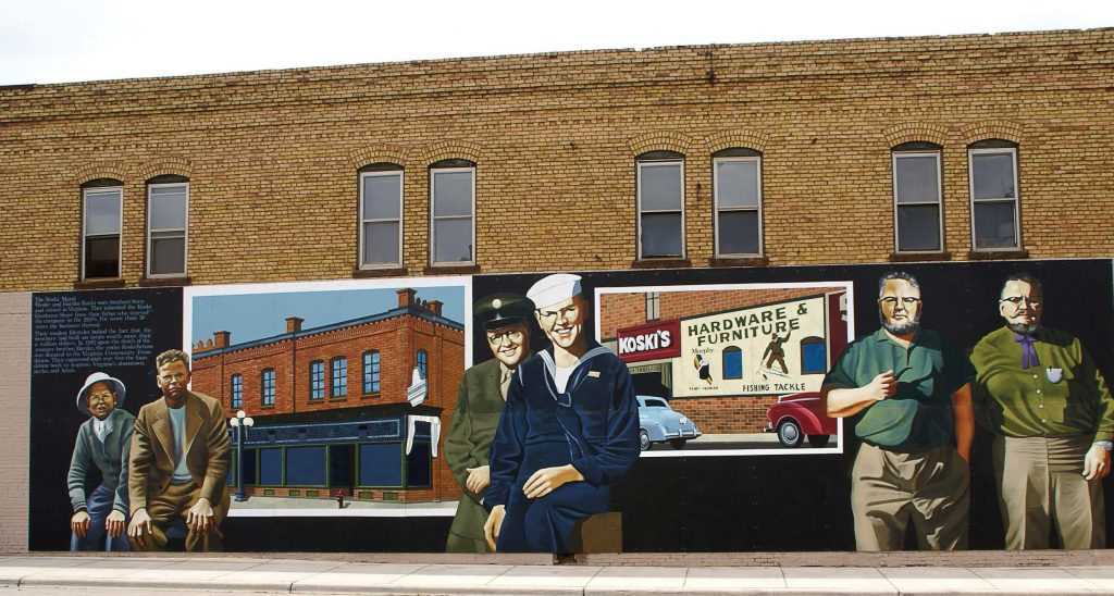 The Hartley and Wesley Koski mural honors the two brothers who bequeathed their entire estate worth $1,050,000 to the Virginia Community Foundation. (Photo provided)