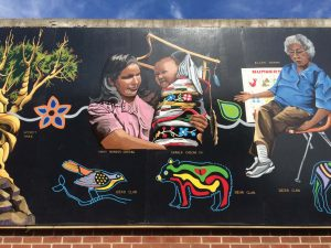 "The mural depicting members of the Ojibwe tribe, the seventh mural in the series, is ""rich in history and provides an opportunity to tell that story in a positive and artistic manner while representing diverse ethnic and cultural traditions through art,"" said Carol Sundquist, a mural committee member. (Photo provided)"