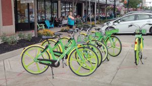A bright shade of lime green, LimeBike's bicycles have proven to be a welcomed addition to South Bend, Ind. In less than six months, LimeBike saw 200,000 rides. (Photo provided)
