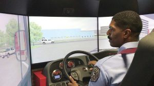 The Montgomery, Ala., Fire and Rescue Department added this driving simulator to train its recruits and keep all members proficient with skills and challenges they might run across when driving an apparatus.