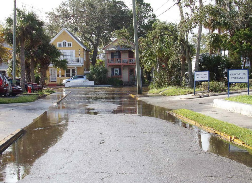 As sea level rise becomes more prevalent, flooding will become more visible in coastal cities. St. Augustine, Fla., has already taken steps to reduce the felt effects of SLR by installing stormwater backflow prevention valves; creating a larger stormwater collection system on Cordova, Bridge and Granada streets; excavating the lake; putting a stormwater pumping station at lake control gates; and designing a system to protect properties along the marsh south of South Street from flooding. (Photo provided)