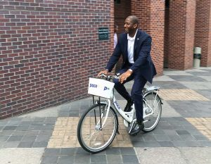 Tallahassee Mayor Andrew Gillum rides a Pace bike. (Photo provided)