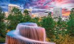 Pictured is Columbia, S.C.'s, Finlay Park fountain. It is the city's largest and most visited park in the downtown area and has picnic tables, two playground areas and a cafe. During the summer, it hosts outdoor movies, numerous events and festivals. (Shutterstock.com)