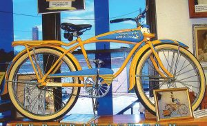 "The Shelby Bicycle Company manufactured bicycles in Shelby from 1925-1953. Among its catalog of bicycles were the ""Lindy Flyer,"" named for aviator Charles Lindbergh, and the Donald Duck bicycles of the '50s. Pictured is a Donald Duck bicycle that is on display at the Shelby museum. (Photo provided)"