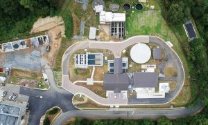A drone snaps a photo of Roswell, Ga.'s, new water plant. The project started in April of 2014, and the plant started officially serving the community in March 2016. (Photo provided)