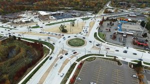 Roundabouts are often designed with larger fire apparatuses and commercial trucks in mind, with special attention being paid to the width of thru lanes and the layout of curbs. Pictured is the Northwestern Connector Triangle in Oakland County, Mich. (Photo provided)