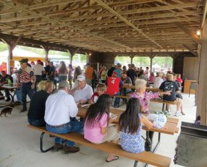 Festival participants enjoy the food available during Barton City's two-day Fourth of July celebration. (Photo provided)