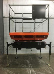 Smaller than traditional scissor lifts, the UTX takes up less storage space; additionally, with its jacks, it is stored off the ground. (Photo provided)