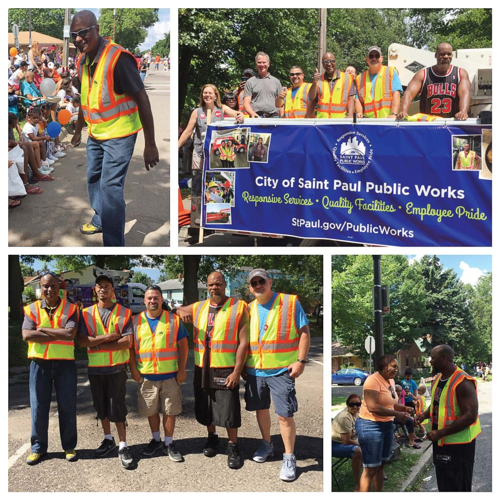 A diverse workforce can develop a deeper connection between city departments and the community that they serve. Pictured is a photo collage of Saint Paul's public works at a community parade. (Photo provide)