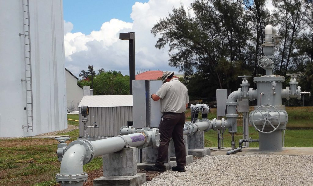 Pictured is Naples' ASR well No. 1 at the wastewater treatment plant. The purple arrows on the pipes indicate that gray water is being transmitted through the line. (Photo provided)