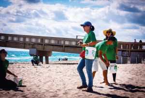 For Beach Sweep Volunteering, individuals can pick up cleanup kits, which are provided by the city, at the Pier Bait Shop. There are incentives to encourage participation, such as cool stickers and T-shirts. (Photo provided)