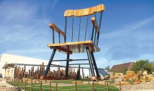 The world's largest rocking chair towers above the surrounding buildings in downtown Casey, Ill. (Photo provided)