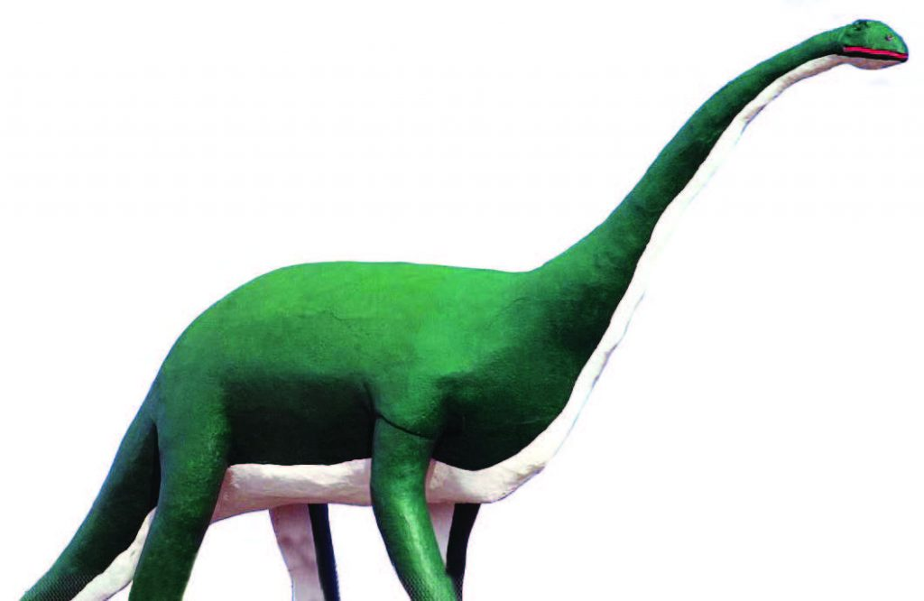 The 50-ton, 80-foot-long brontosaurus was built along the highway when Interstate 90 replaced the former Route 16A. The eyes light up to beckon travelers to take the exit to downtown Wall. (Photo provided)