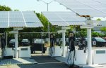 A distance shot of an Envision Solar EV ARC electric vehicle charging station in Oakland, Calif. The city's green fleet policy, environmentally preferable purchasing policy, and energy and climate action plan have pushed its fleet to pursue more environmentally friendly options including solar energy. (Photo provided)