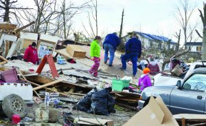 Unlike storm shelters, most homes are not designed to withstand extreme wind pressures and debris impact. Pictured, is the aftermath of a category 4 tornado that touched down on March, 2, 2012, in Henryville, Ind. (Alexey Stiop/Shutterstock.com)
