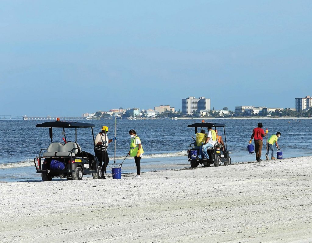 In August, workers travelled Fort Myers Beach in Lee County, Fla., using golf carts to clean up dead fi sh that washed up due to the toxic red tide. Workers wore surgical masks while performing the task. (Jillian Cain Photography/ Shutterstock.com)