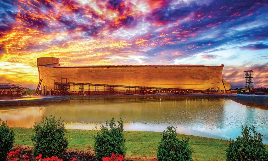 The replica of Noah's ark stretches almost two football fields in length and towers seven stories above the ground.