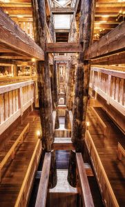 The ark is the largest timber-frame structure in the world. Some of the supporting beams measure 10 feet in diameter.