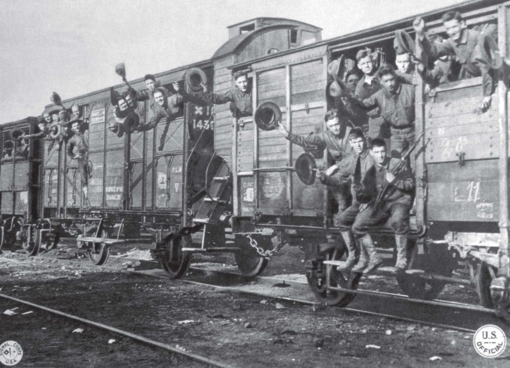 During World War I, American Marines head to a training camp in France. This year Nov. 11 will mark the 100th anniversary of Armistice Day, which later became Veterans Day. (Shutterstock.com)