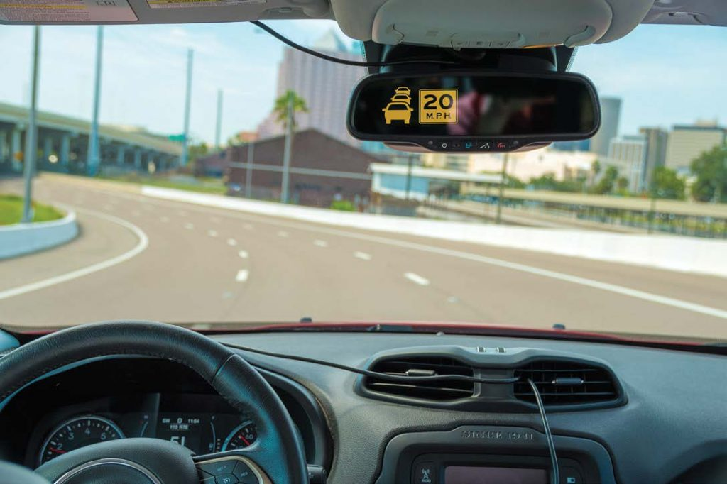 Drivers of connected vehicles on the Lee Roy Selmon Expressway's Reversible Express Lanes will receive an alert when traffic is backed up ahead. This warns the driver to slow down to a recommended speed as the vehicle approaches the end of a queue. (Photo provided)