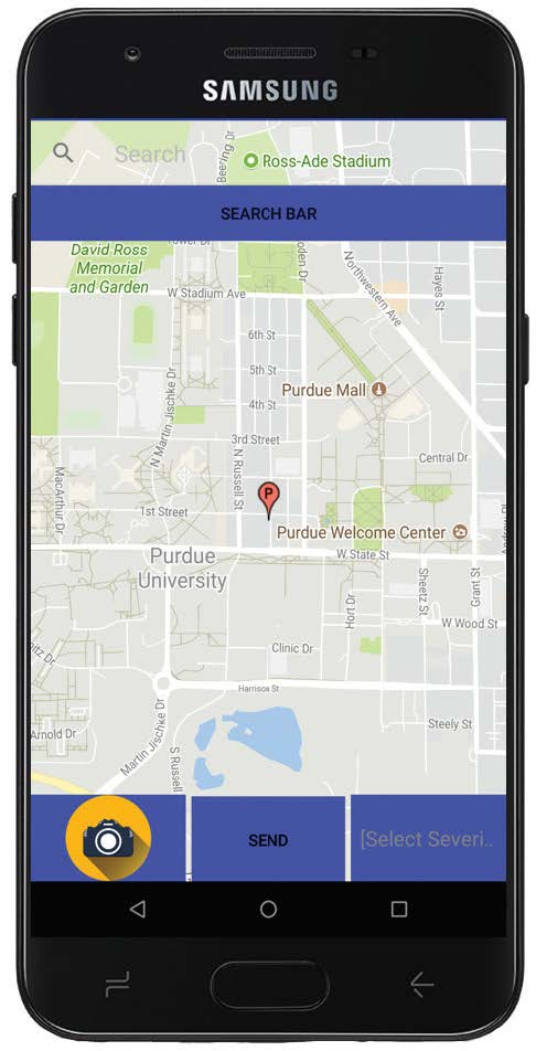 After splitting up the duties with Vertically Integrated Projects, an electrical engineering group, the EPICS team is focusing more on creating a phone app that will allow users to identify where a pothole is located. The app will use the phone's GPS for a more precise location. (Photo provided)