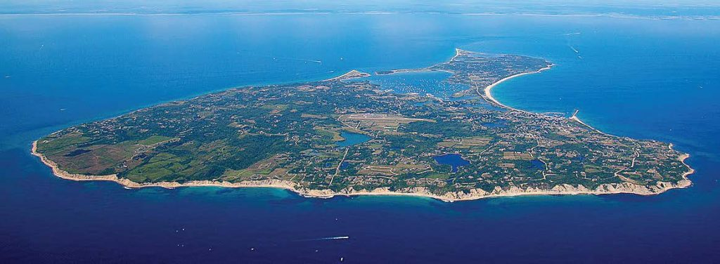 Block Island, which some describe as shaped like a pork chop, is 6 miles long with 17 miles of shoreline.