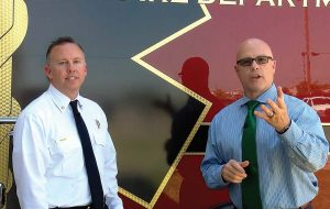 """Broken Arrow in Motion Take 5"" is a YouTube series that allows Spurgeon and the city of Broken Arrow to connect with citizens and promote transparency. From left are Fire Chief Jeremy Moore and Spurgeon. (Photo provided)"