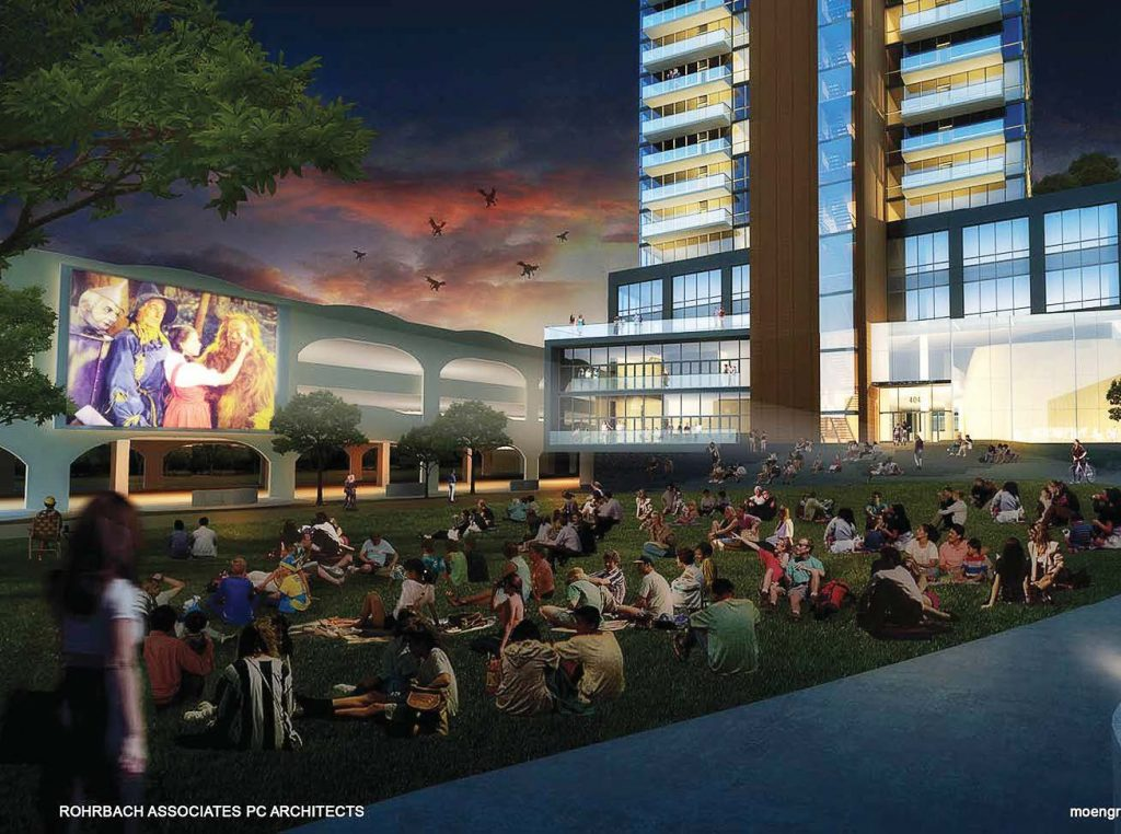 "A night shot of the north side of the building and Chauncey Swan Park in front of the building. ""We are building the park as shown once the construction equipment is removed, and part of our development agreement with the city allows us to show outdoor movies, which you see in (the rendering),"" explained Moen. (Rendering provided by Rohrbach Associates PC Architects)"