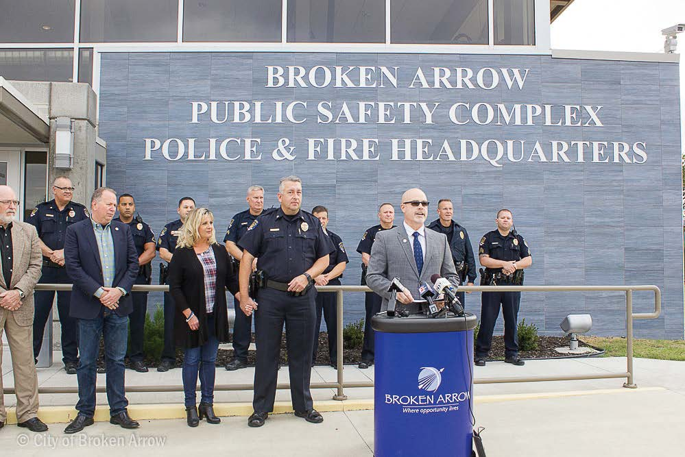 City Manager Spurgeon speaks at an event at the Broken Arrow Public Safety Complex Police & Fire Headquarters. (Photo provided)