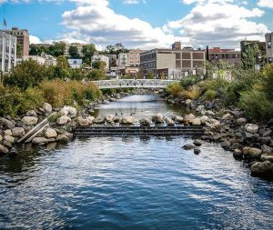 "Van der Donck Park at Larkin Plaza features the restored Saw Mill River and boardwalk in downtown Yonkers, N.Y. The river was actually covered up underneath the city with a parking lot atop it and was ""daylighted"" and transformed into a nice park in 2012. (Photo provided by Yonkers)"
