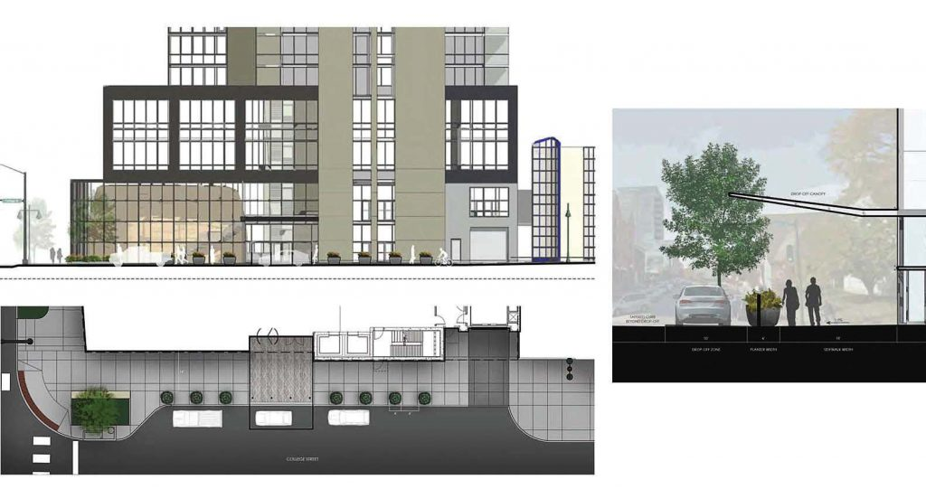 Above is a rendering of the north side of the Chauncey building, and the small picture to the right shows the drop off lane for the hotel and residential units with a large glass awning extending to the street. (Rendering provided by Rohrbach Associates PC Architects)