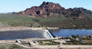 Granite Reef Diversion Dam diverts water from the Salt River into the canals to the north and south; this water is then delivered to water users within the Salt River Project. (Photo provided)