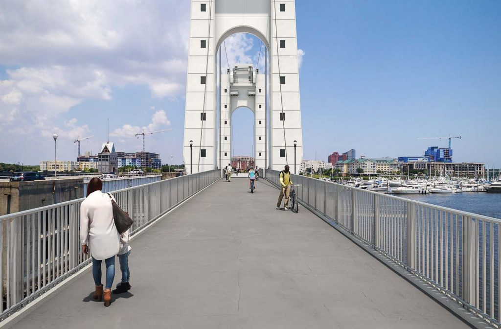Charleston, S.C., is hoping to become the home of a new pedestrian bridge that will connect West Ashley with the downtown area, greatly improving pedestrians' and cyclists' safety. Pictured is a rendering of the proposed bridge. (Photo provided)