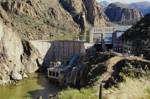 A part of the SRP, Mormon Flat Dam has two hydroelectric generating units; one is a conventional unit rated at 10,000 kW while the second is a pumped storage unit built in 1971 that is rated at 50,000 kW. (Photo provided)