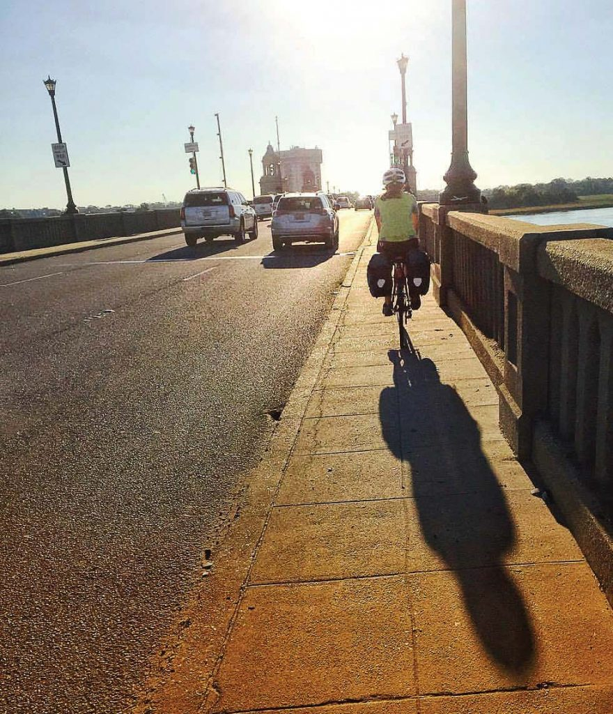 A cyclist travels on a maintenance path in Charleston, S.C. The city and Charleston County hope to install a pedestrian bridge to further separate motor vehicles from cyclists and pedestrians. (Photo provided)
