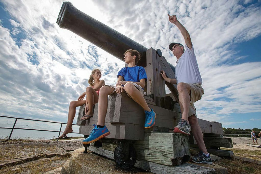 Fort Gaines contains eight pieces of artillery originally used during the Civil War.