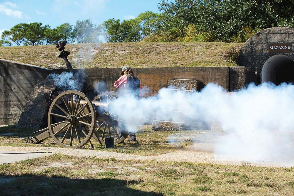 Re-enactors at Fort Gaines regularly conduct cannon firing demonstrations during tours and special events.