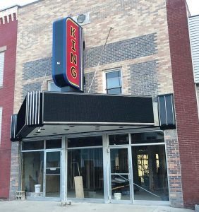 The King Theatre shines with its new sign and digital marquee. (Photo provided)