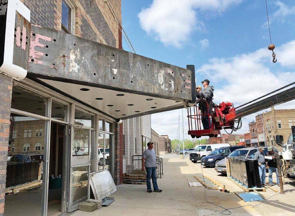 The old marquee is removed from Ida Grove, Iowa's, King Theatre. The city, seeing the value of a downtown movie theater, took over ownership of the King and has been renovating it. (Photo provided)