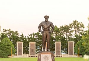 Pictured is an Eisenhower statue on the grounds of the Eisenhower Presidential Library, Museum and Boyhood Home. (Photo provided)