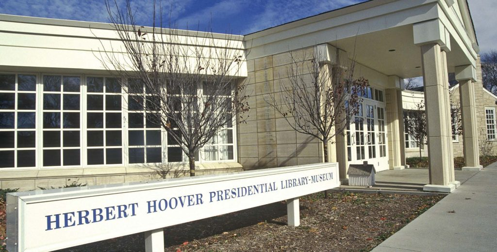 Located in West Branch, Iowa, the Herbert Hoover Presidential Library and Museum sees between 140,000 to 150,000 annual visitors. (Joseph Sohm/Shutterstock.com)