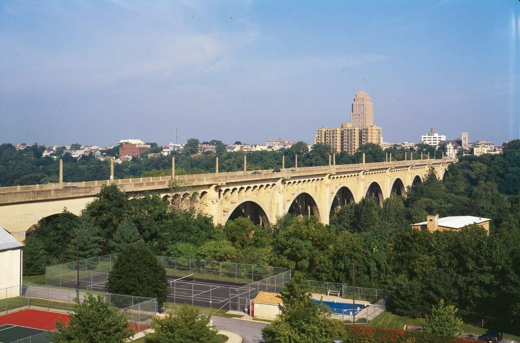 Opened to traffi c in 1913, Allentown, Pa.'s, Eighth Street Bridge has been the site of approximately 80 suicides. In 2014 during a planned renovation, fencing was added to the bridge to prevent suicides there. (Public domain)