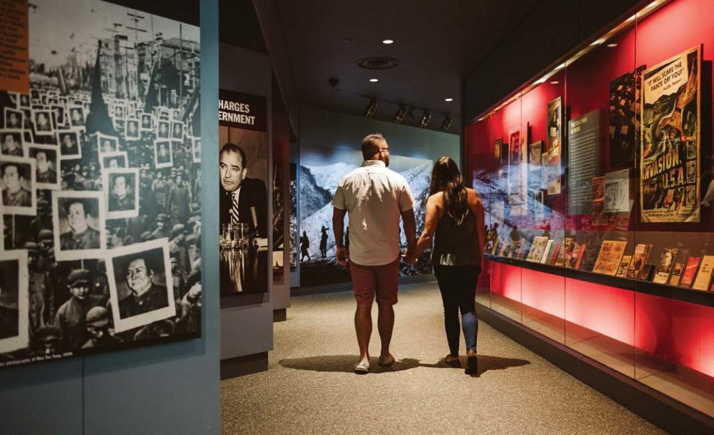A couple browses the displays featured in the Truman Library and Museum. (Photo provided)