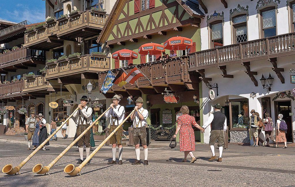 The robust blasts of traditional alpenhorns are a familiar sound in downtown Leavenworth during tourist season. (Photo courtesy of Icicle TV)